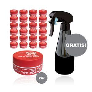 RedOne Red Aqua Wax Full Force Haarwachs 24 x 150 ml + HairForce Wassersprühflasche gratis - Farbauswahl möglich