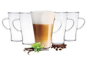 6  Latte Macchiato Gläser 400 ml mit Henkel und 6 Edelstahl-Löffel Borosilikat