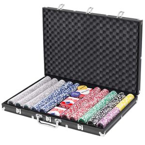 COSTWAY Komplettes Poker-Set mit 1000 Chips, 3 Pokerset, 3 Händler-Chip, 6 Würfel und Tischtuch, Kasino Pokerkoffer Aluminium, Poker Komplett Set