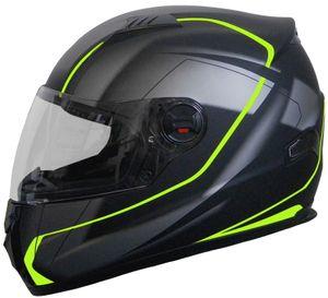 Integralhelm 708 Motorradhelm Helm Größe L Rollerhelm Sturzhelm schwarz neon grün Visier klar