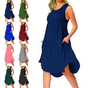 Damen Einfarbiges Ärmelloses Midikleid Sommer Strandtasche Sommerkleid,Farbe: Dunkelblau,Größe:5XL