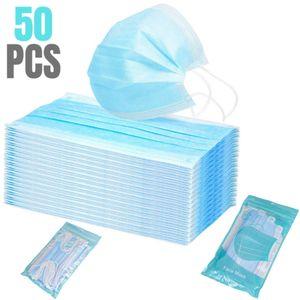 V-Calm®50Stück Einweg Atem Mundschutz 3-Lagig Maske Schutzmaske Gesichtsmaske Filter Masken Antibakterien