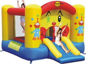 Happy Hop 9201 'Clown Slide and Hoop' Hüpfburg mit Gebläse und Tasche ; für bis zu 2 Kinder ; Maße (LxBxH): 300 cm x 225 cm x 175 cm