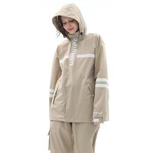 Regenjacken Regenhose Set Damen Wasserdicht Atmungsaktiv 3M Reflektierend Mode Regenanzug Größe S, Hellbraun