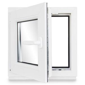 Neruli Kellerfenster Kunststoff Weiß Dreh-Kipp Glasdichtungen Schwarz, 2-fach verglast, DIN Links, 50x50 cm