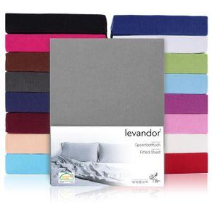 Spannbettlaken Bettlaken 100% Baumwolle Jersey  Standard 100 (180 x 200 cm - 200 x 200 cm, Steghöhe 30cm, Schwarz