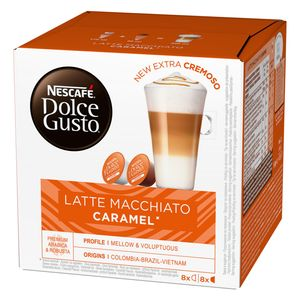 Nescafé Dolce Gusto Caramel Latte Macchiato, Karamell, Kapseln, Kaffeekapsel, Café, Coffee, Kaffee, 16 Kapseln (8 Portionen)