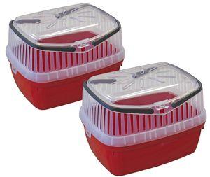 2er Sparpack Transportbox für Kleintiere wie Hamster, Meerschweinchen, Kaninchen usw. 2 x Rot