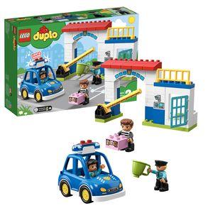 LEGO 10902 DUPLO Town Polizeistation mit Polizeiauto, Gefängniszelle und 2 Polizistenfiguren, Licht & Geräusche, Spielzeuge für Kleinkinder