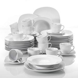 MALACASA, Serie Elisa, 60 Tlg. Porzellan Tafelservice Geschirrset mit 12 Kaffeetassen, 12 Untertassen, 12 Dessertteller, 12 Suppenteller, 12 Essteller