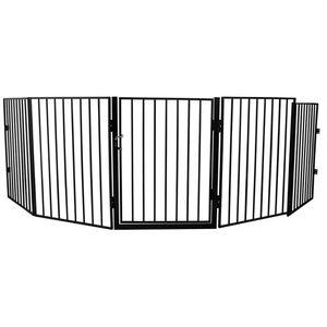 Melko Kinder Kaminschutzgitter inkl. Tür aus Metall Türschutzgitter Treppen Ofen Absperrgitter
