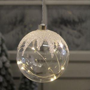 Goldbach - Glas Kugel LED 15cm weiß geflittert