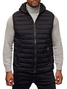Herren Steppweste Bodywarmer Outdoor Weste Kapuze Reißverschluss Zipper Casual , Farben:Schwarz, Größe Jacken:3XL