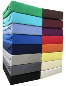 2 Stück Jersey Spannbettlaken 100% Baumwolle Spannbetttuch Farben & Größen wählbar, Größe:180 x 220 cm - 200 x 220 cm, Farbe:2 Stück Schwarz