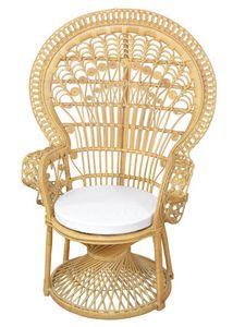 Rattansessel  - Pfauenthron, Beigefarben gebeizt/lackiert, mit Sitzkissen