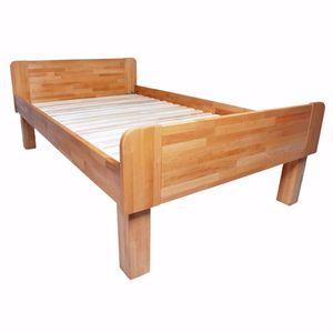 acerto® - ADINA Doppelbett mit Komforthöhe aus massiver Buche 160x200cm * Handarbeit * Robust * Zeitlos | Rustikales Buchebett aus Massivholz | Bett aus Holz im Landhaus-Stil mit Rollrost
