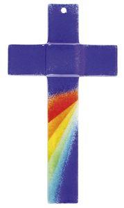 Kreuz - Glas, blau mit Regenbogen, 12 x 20 x 4 cm
