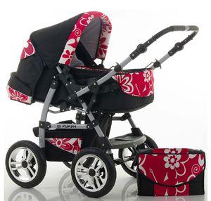 "14 teiliges Qualitäts-Kinderwagenset 2 in 1 ""FLASH"" in 38 Farben: Kinderwagen + Buggy - Megaset – all inklusive Paket in Farbe RED-DAISY"