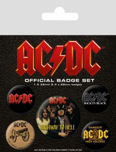 AC/DC Button Pack - Highway To Hell, 1 X 38mm Und 4 X 25mm Buttons (15 x 10 cm)