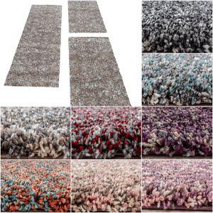 Bettumrandung Hochflor Shaggy Teppich meliert Läuferset 3 teilig Einfarbig, Farbe:Taupe, Bettset:2 mal 60x110 + 1 mal 80x250