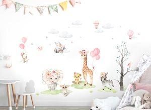 Little Deco Wandtattoo Kinderzimmer Mädchen Tiere   148 x 86 cm (BxH)   Dschungel Elefant Löwe Zebra Wandaufkleber Wandsticker DL711