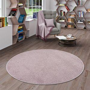 Hochflor Velours Teppich Luna Mix Altrosa Rund, Größe:100 cm Rund
