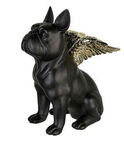 Casablanca Figur Flying Bulli schwarz goldfarben 25 cm Figur Hund Skulptur