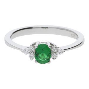 JuwelmaLux Ring Silber 925/000 mit synthetischem Smaragd JL10-07-0256