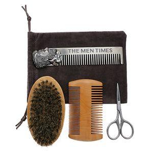 4er Set, Bartscheren  \\u0026 Schnurrbartbürste, Borstenpflege, Bartkamm Haarpflege