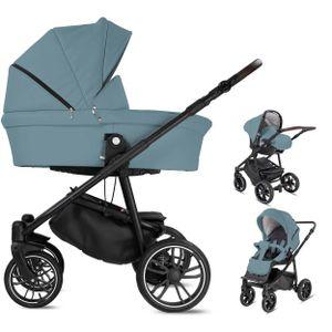 Friedrich Hugo Minigo Beat | 3 in 1 Kombi Kinderwagen | Gelreifen | Farbe: Blue Grey