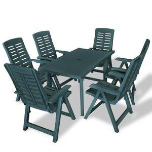 Hochwertigen Garten Sitzgruppe Gartengarnitur - 7-teiliges Outdoor-Essgarnitur Garten-Essgruppe Sitzgruppe Tisch + stuhl Kunststoff Grün☆6297