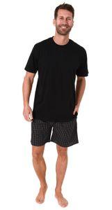 Herren Pyjama Shorty Schlafanzug kurzarm mit karierter Webshorts  - 65349, Farbe:schwarz, Größe:58