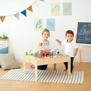 Teamson Kids Kinderspielzeug Eisenbahn Zug, 85 Stück Holz Bahngleis PS-T0004