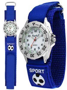 Pacific Time Kinder Armbanduhr Fußball Leuchtzeiger Textil Klettarmband blau