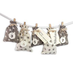 DIY Adventskalender zum Befüllen Schneeflöckchen Baumwollbeutel grau,creme mit Sternen,Ziffern weiß
