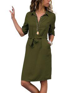 Damen Revers Kragen 3/11 Ärmel Mittellanges Kleid Freizeithemd Schnürkleid,Farbe: Grün,Größe:XL
