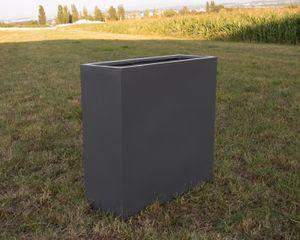 Pflanztrog, Pflanzkübel Fiberglas als Raumteiler 84x30x80cm anthrazit-metallic.