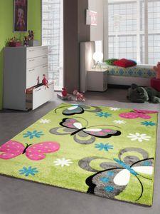 Kinderteppich Spielteppich Schmetterling Design Grün Pink Grau Türkis Weiss Größe - 160x230 cm