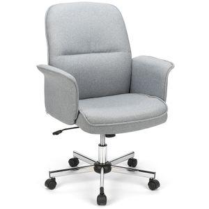 Futurefurniture® Bürostuhl Chefsessel Leinen Drehstuhl Computerstuhl  Sitzhöhenverstellung Spielstuhl-Grau