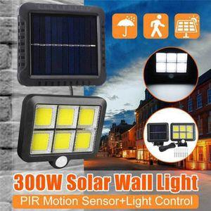 120 LED Solarleuchte mit Bewegungsmelder Solarstrahler Außen Gartenlampe Licht