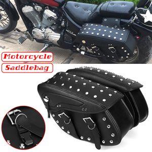 Paar Universal Black Kunstleder wasserdichte Motorrad Satteltasche Seitentasche Werkzeugtasche für Harley