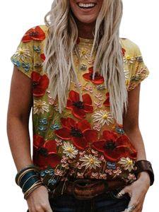 Lose Kurzarm-T-Shirt mit lässigem Oberteil und Blumendruck für Damen,Farbe: große rote Blume,Größe:L