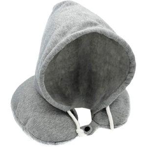 Nacken Reisekissen mit Kapuze, Hoodie Nackenkissen - Nackenhörnchen für Kinder und Erwachsene - Kopkissen für Auto, Bahn oder Flugzeug
