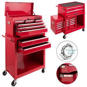 Arebos Werkstattwagen Werkzeugwagen Werkzeug Rollwagen Werkzeugkasten 9 Fächer rot - direkt vom Hersteller