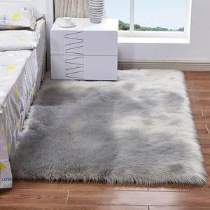 Langer Plüsch-ultra weiche flaumige Wolldecke-Rechteck-Form-Faux-Schaffell-Wollteppich-Teppich für Wohnzimmer-Schlafzimmer-Balkon-Boden-Matten