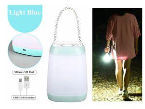LED tragbare Tischlampe Lampe Tischleuchte Leuchte Nachttisch Büro Baby Kinderzimmer Camping Multifunktionslampe Li-Ion Akku USB aufladbar Blau