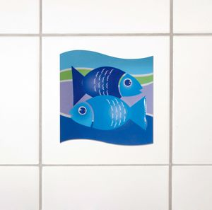 Wenko 3D-Fliesendekor, Kacheldekor, Fliesenaufkleber Motiv Fish 6er-Set