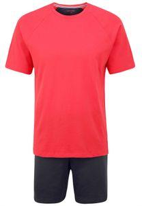 seidensticker Herren Schlafanzug Set - 2-tlg., Shorty, kurz, Rundhals, unifarbig Rot S