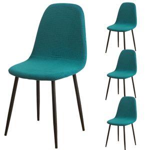 Esszimmerstühle Bezug 4er Set, Jacquard Stoff gepolstert Esszimmer Stuhlhussen Shell Oval (Grün)
