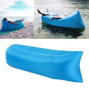 Aufblasbares Sofa Luftbett Liegestuhl Schlafsack Matratze Couch Hellblau Modern 220 x 70 cm Aufblasbare Liege